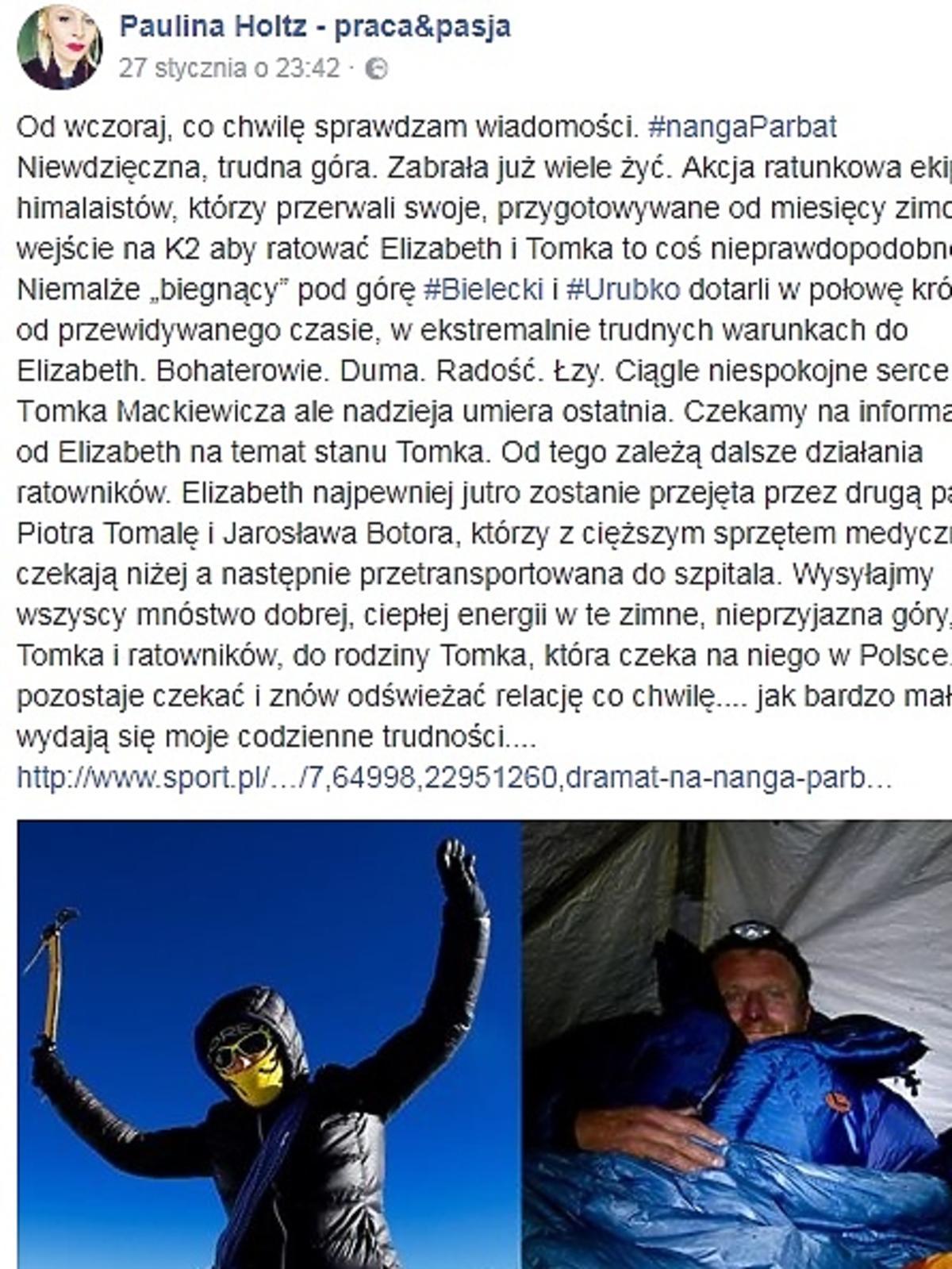 Paulina Holtz żegna Tomka Mackiewicza