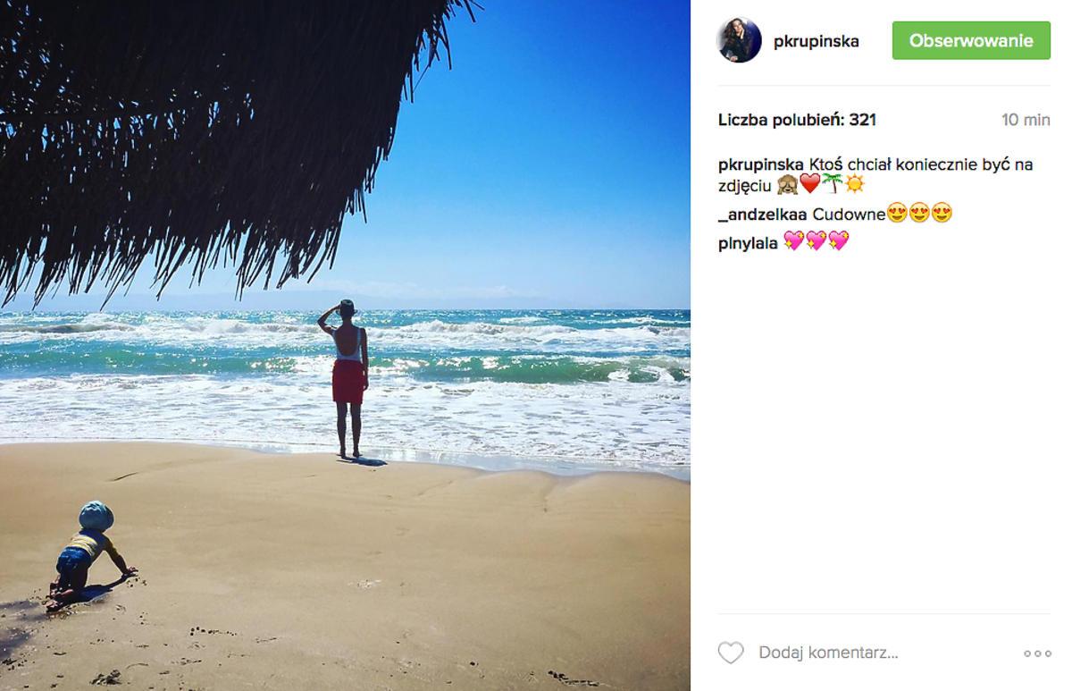 Paulina Krupińska na wakacjach z córką