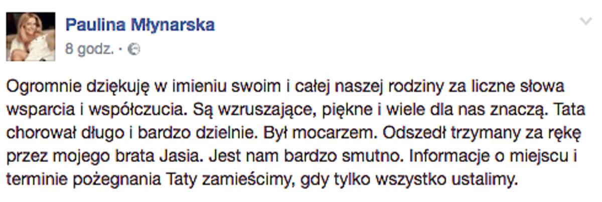 Paulina Młynarska o śmierci ojca