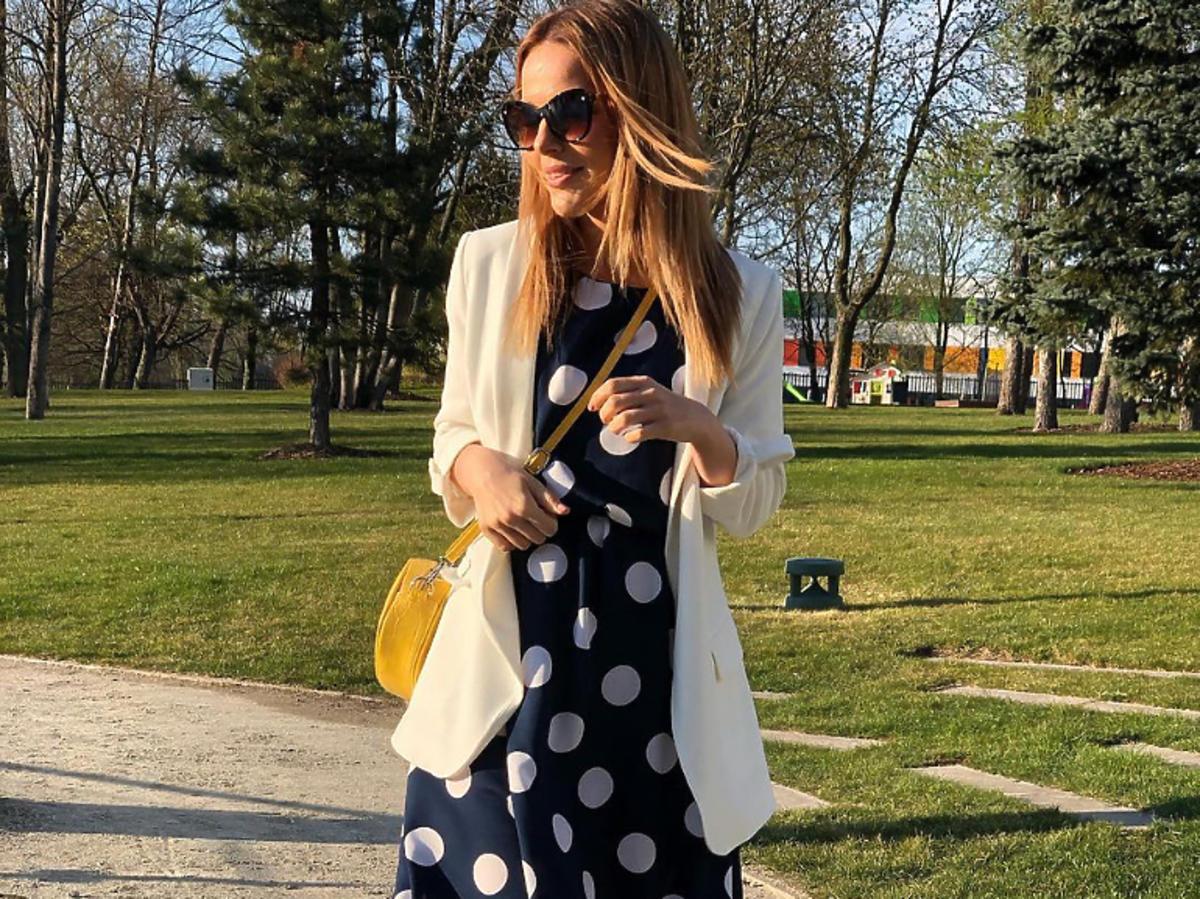 Paulina Sykut-Jeżyna sukienka w grochy