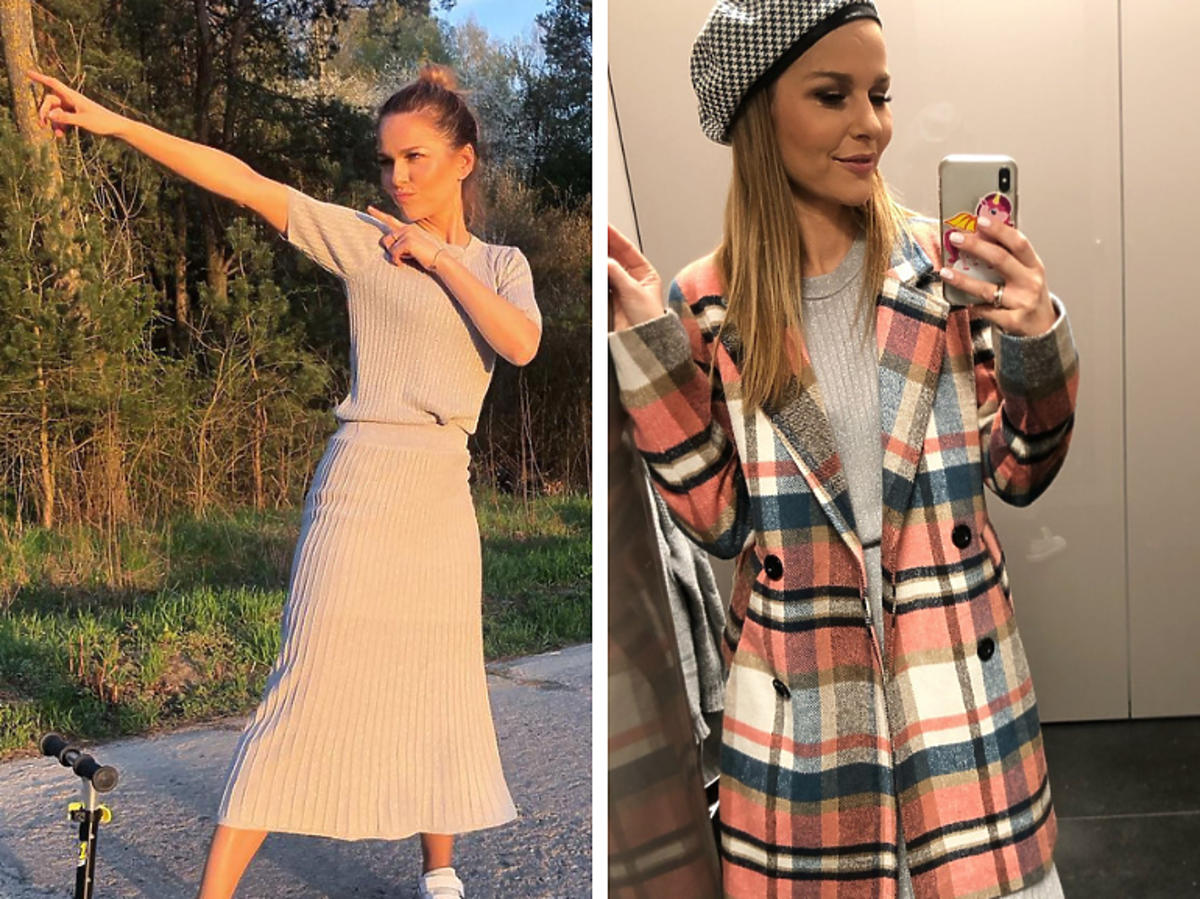Paulina Sykut-Jeżyna w dzianinowej sukience