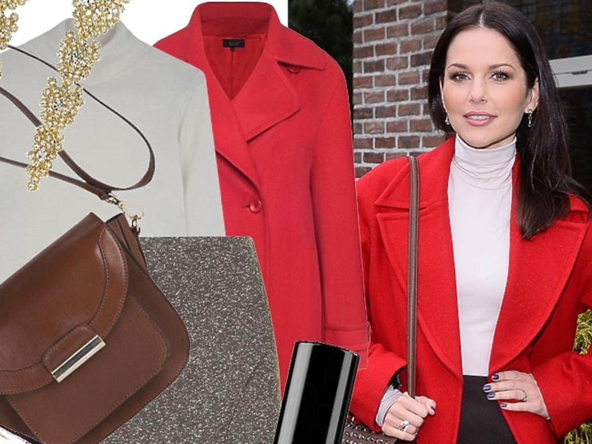 Paulina Sykut w czerwonym płaszczu