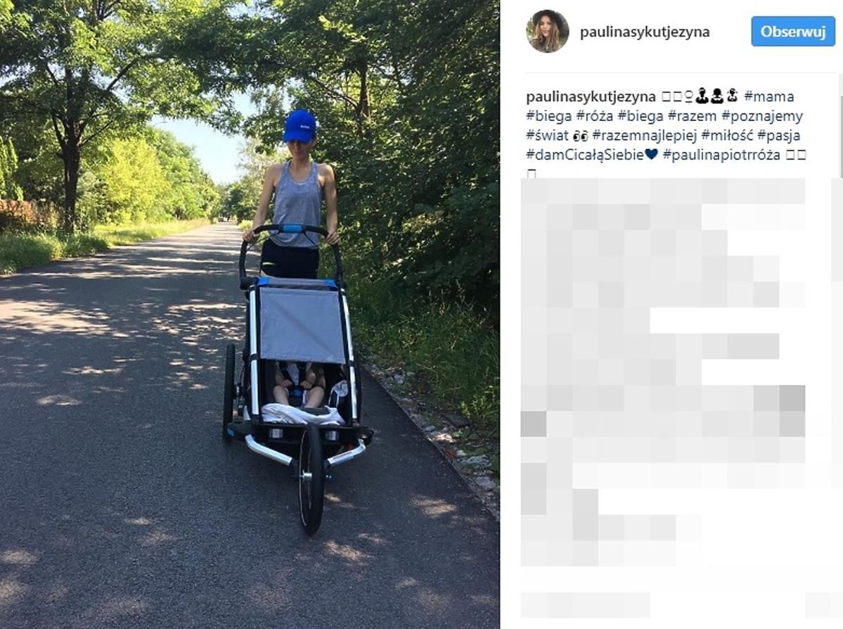 Paulina Sykut z wózkiem do biegania