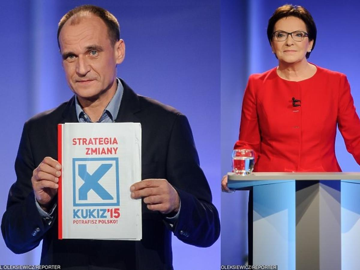 Paweł Kukiz, Ewa Kopacz na debacie przedwyborczej