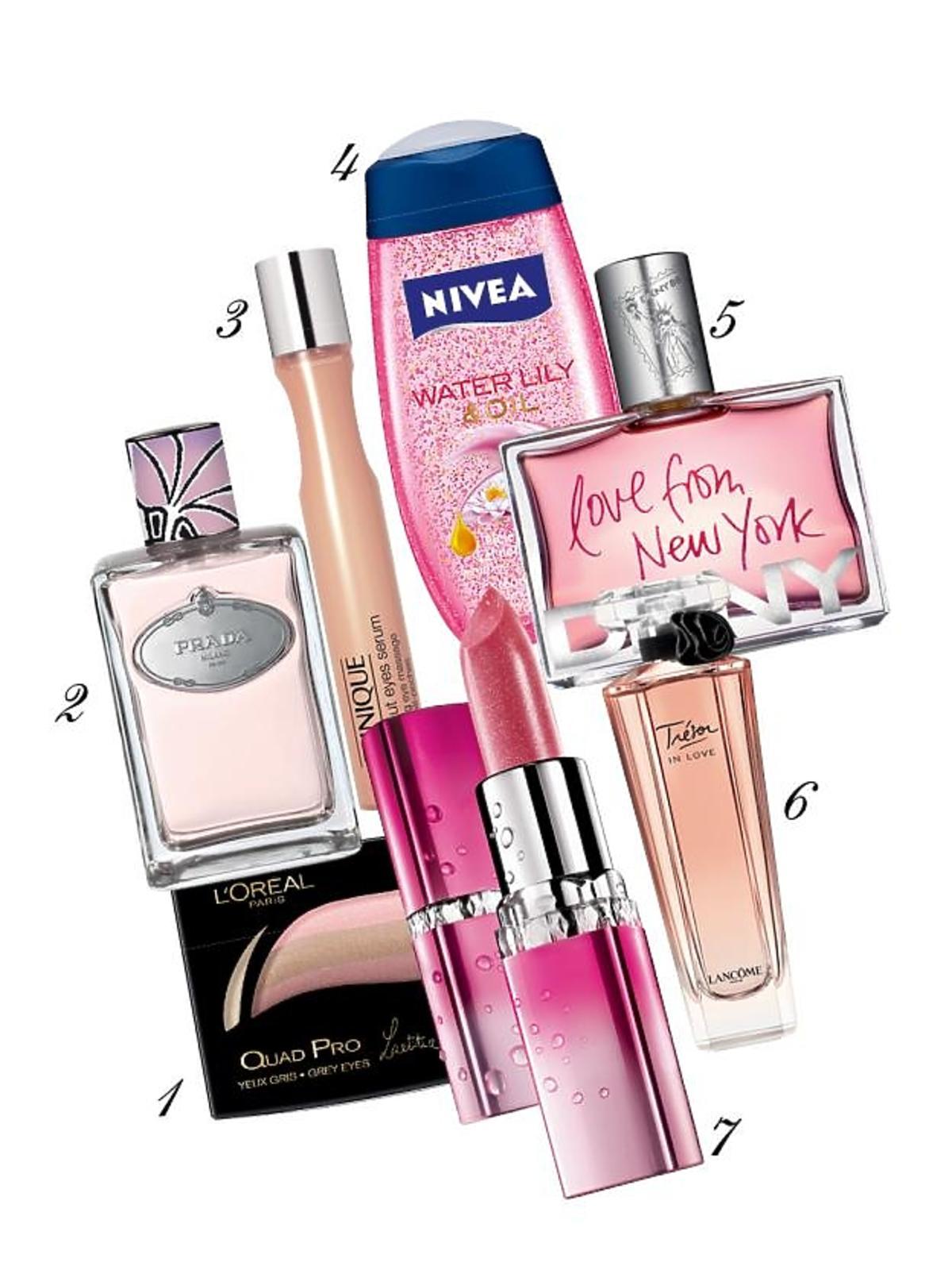 perfumy, kosmetyki, cienie do powiek, szminka, żel pod prysznic, Prada, Nivea, Lancome, DKNY, Maybelline, Clinique