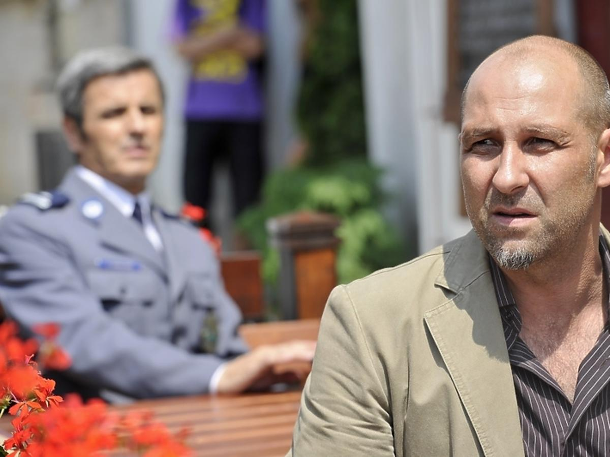 Piotr Polk i Jacek Radziński na planie serialu