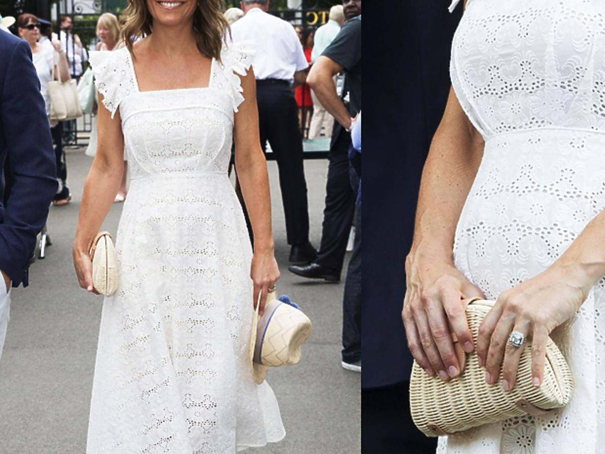 Pippa Middleton w ciąży w białej sukience