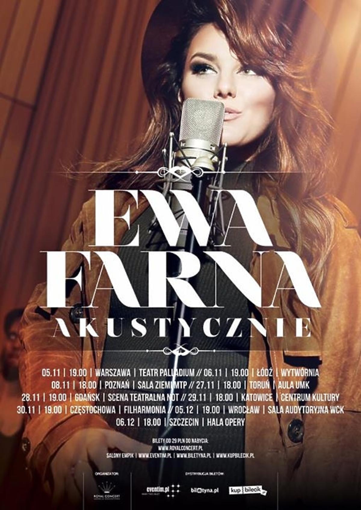 Plakat akustycznej trasy koncertowej Ewy Farnej