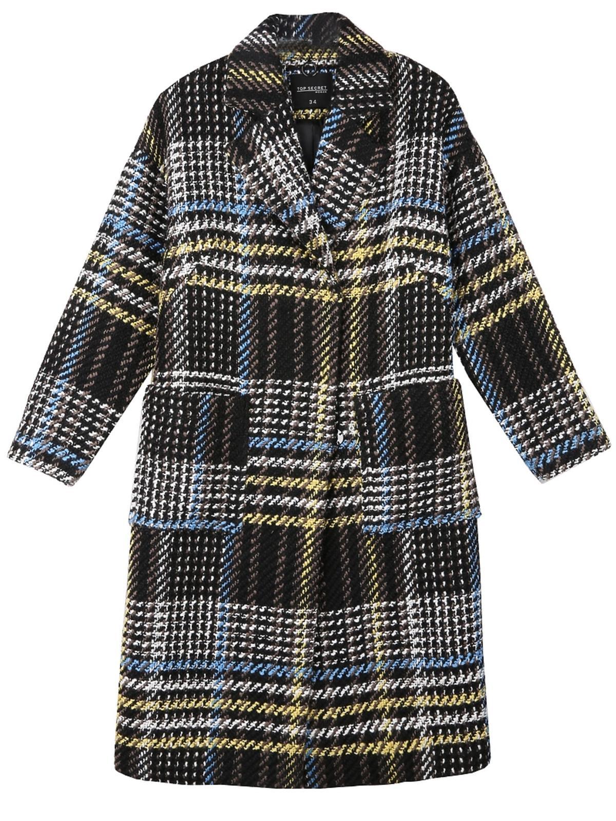 Płaszcz w kolorowa kratę Top Secret