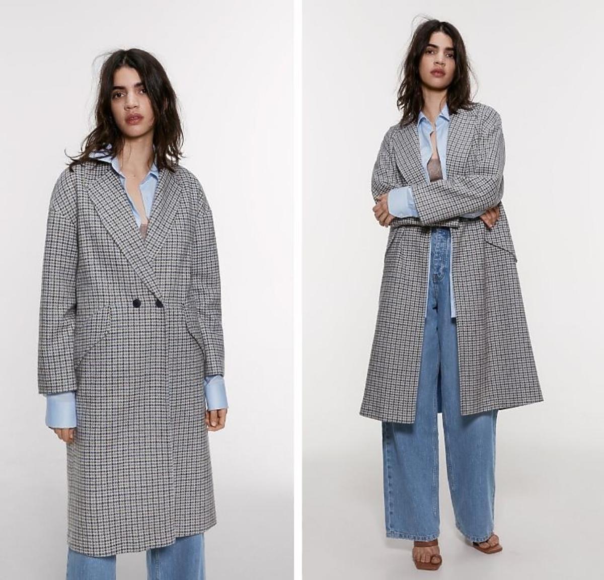Płaszcz w kratę Zara