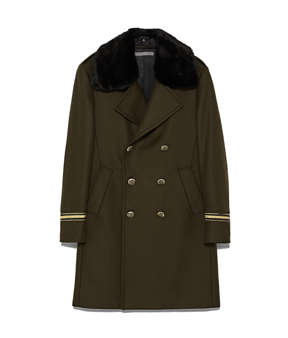 Płaszcz z futrzanym kołnierzem w stylu militarnym, Zara, 599 zł