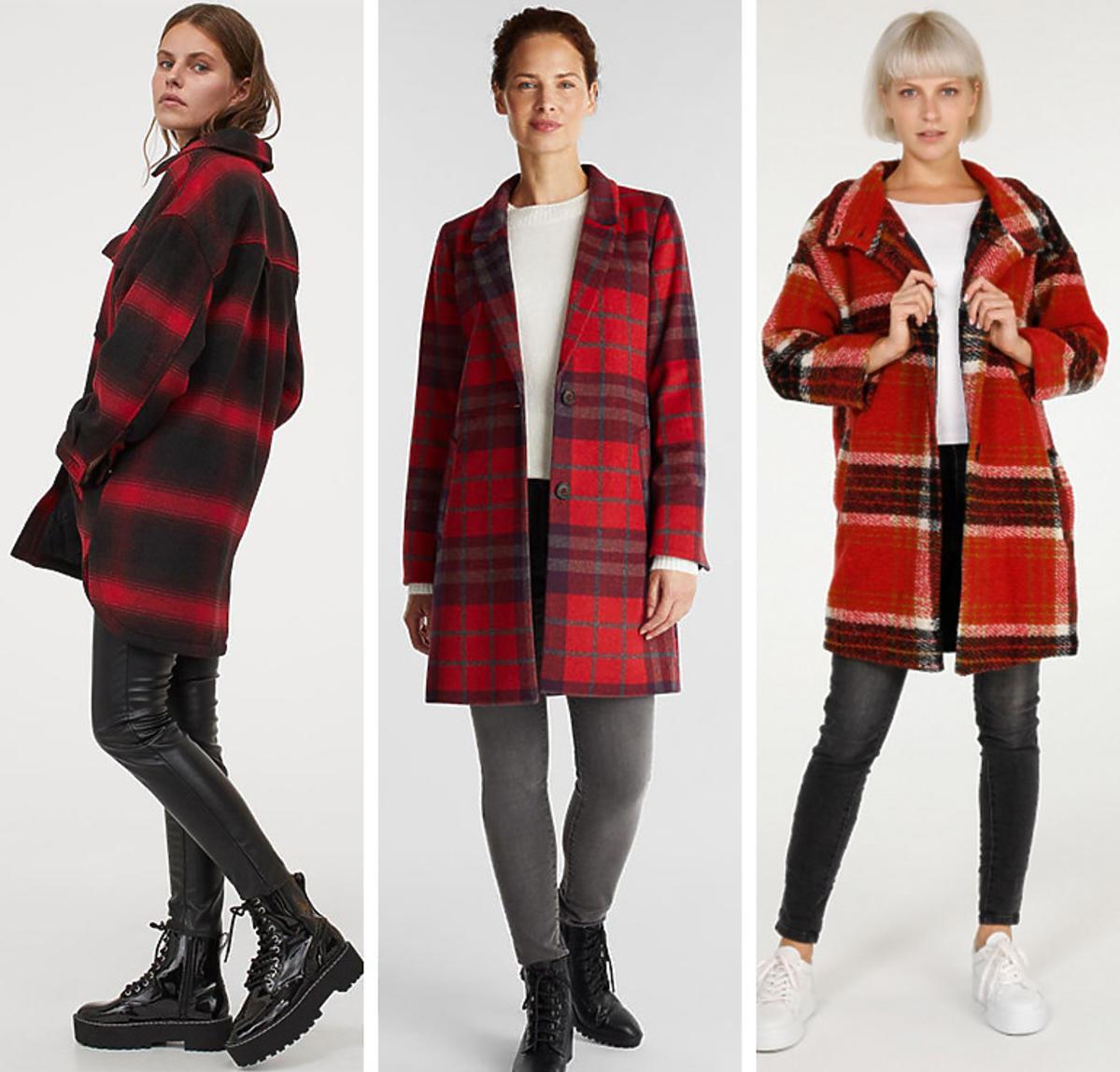 Płaszcze w kratę w stylu Anny Lewandowskiej z H&M, Esprit i Unisono