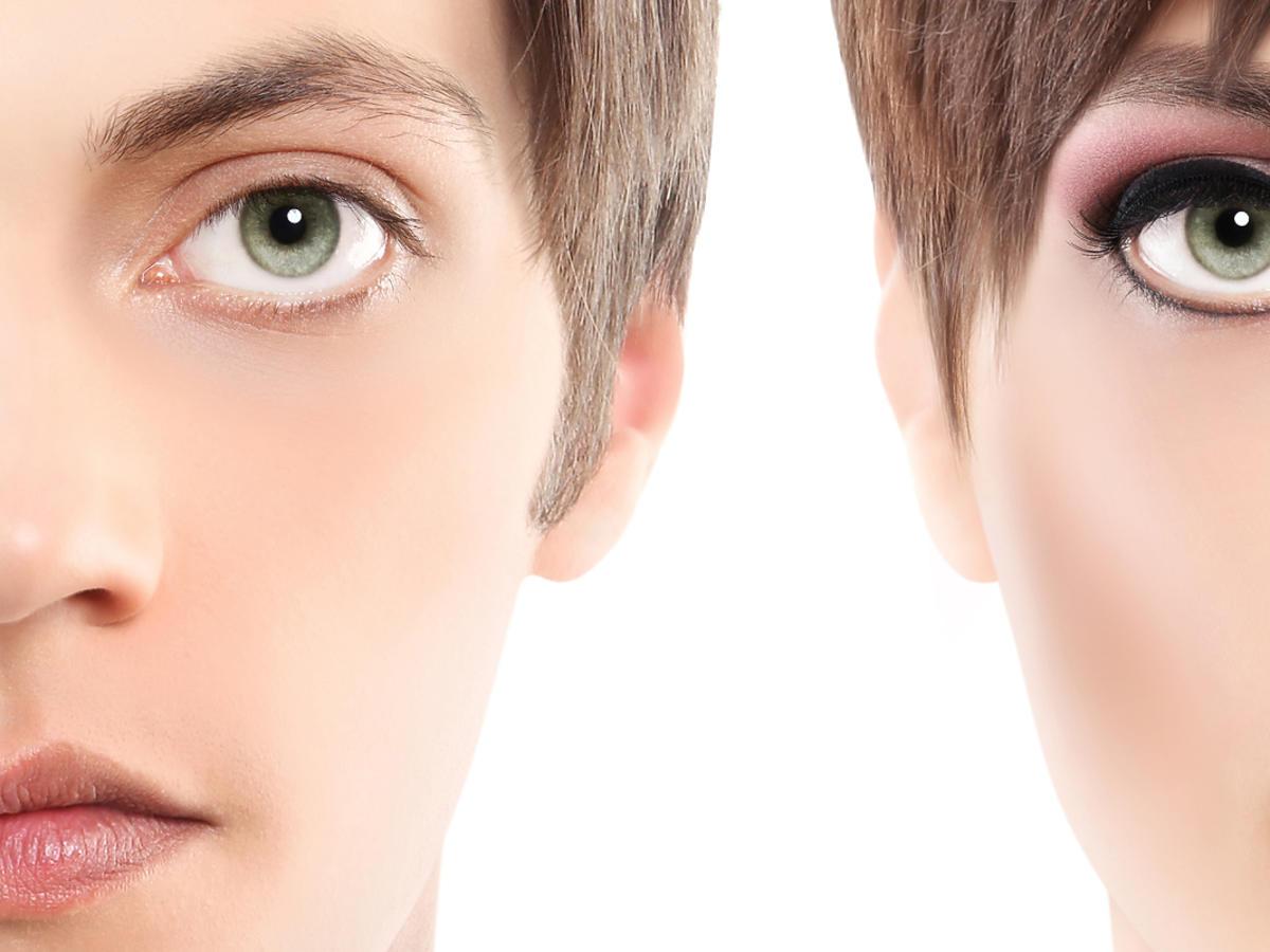 Pół twarzy mężczyzny, pół twarzy kobiety