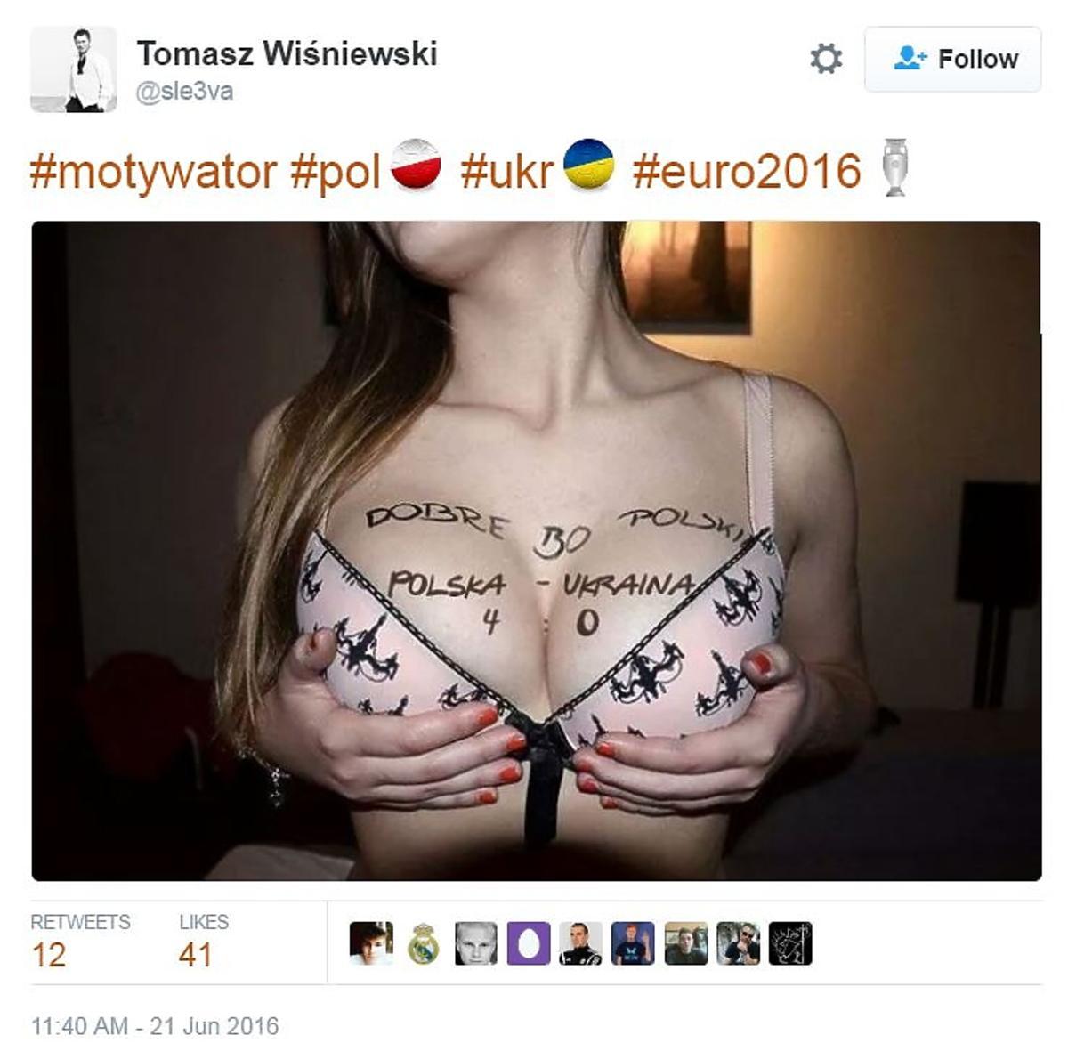 Półnaga kibicka typuje wynik mecz relacja na żywo Polska - Ukraina