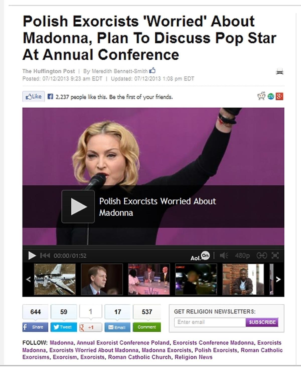 Polscy egzorcyści  o koncercie Madonny