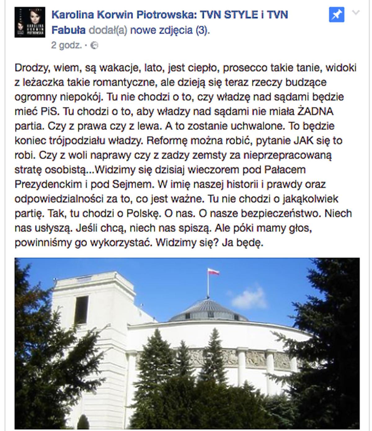 post Karoliny Korwin-Piotrowskiej