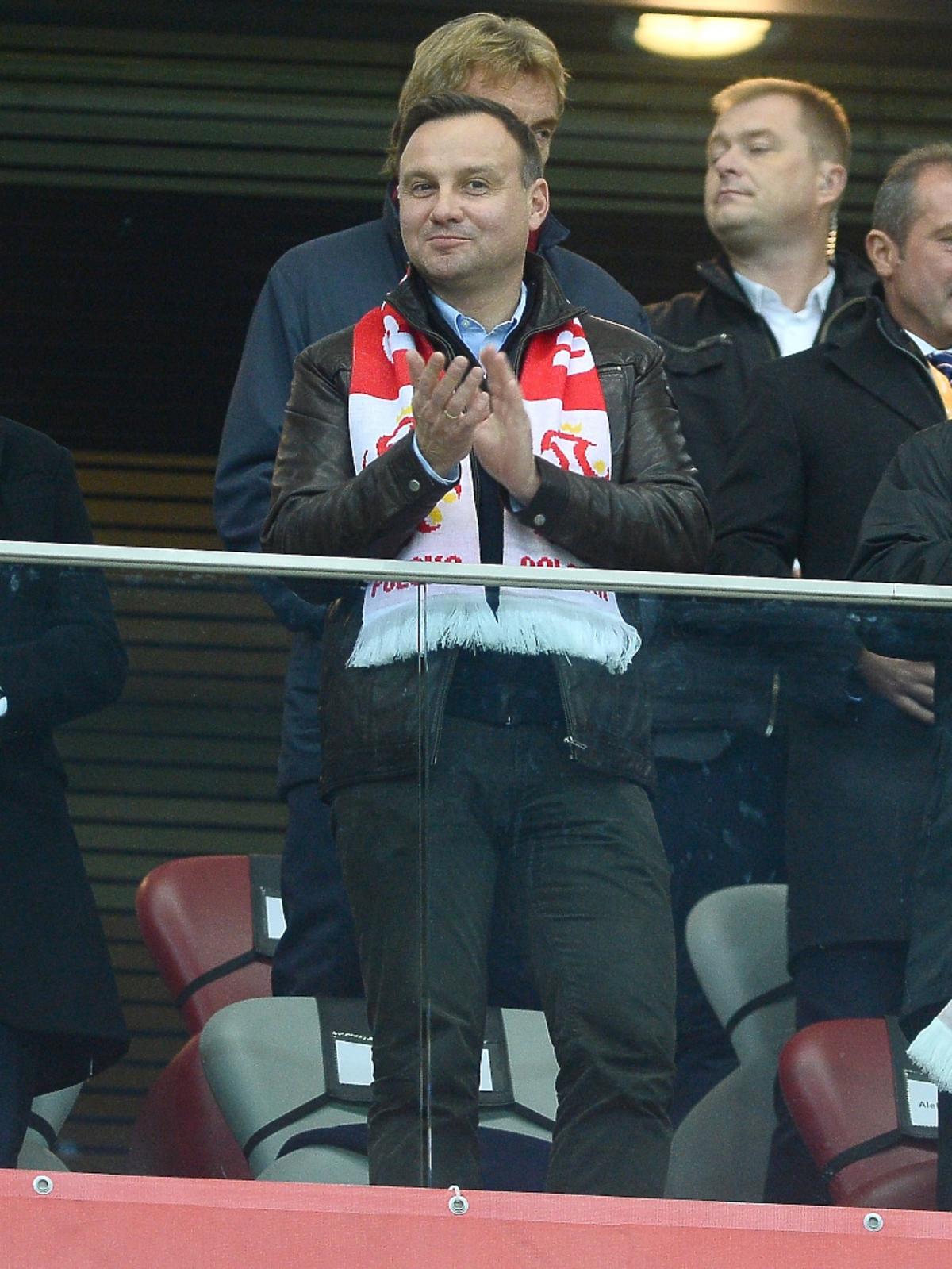 Prezydent Andrzej Duda na meczu Polska-Irlandia