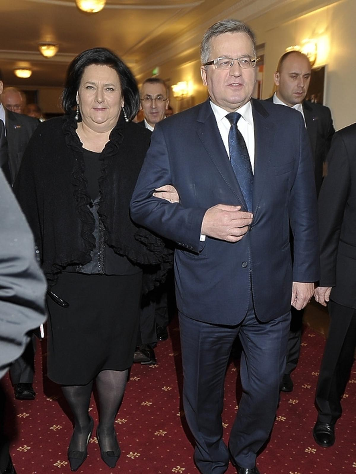 Prezydent Bronisław Komorowski z żoną Anną na premierze Irydiona na 100 Lat Teatru Polskiego