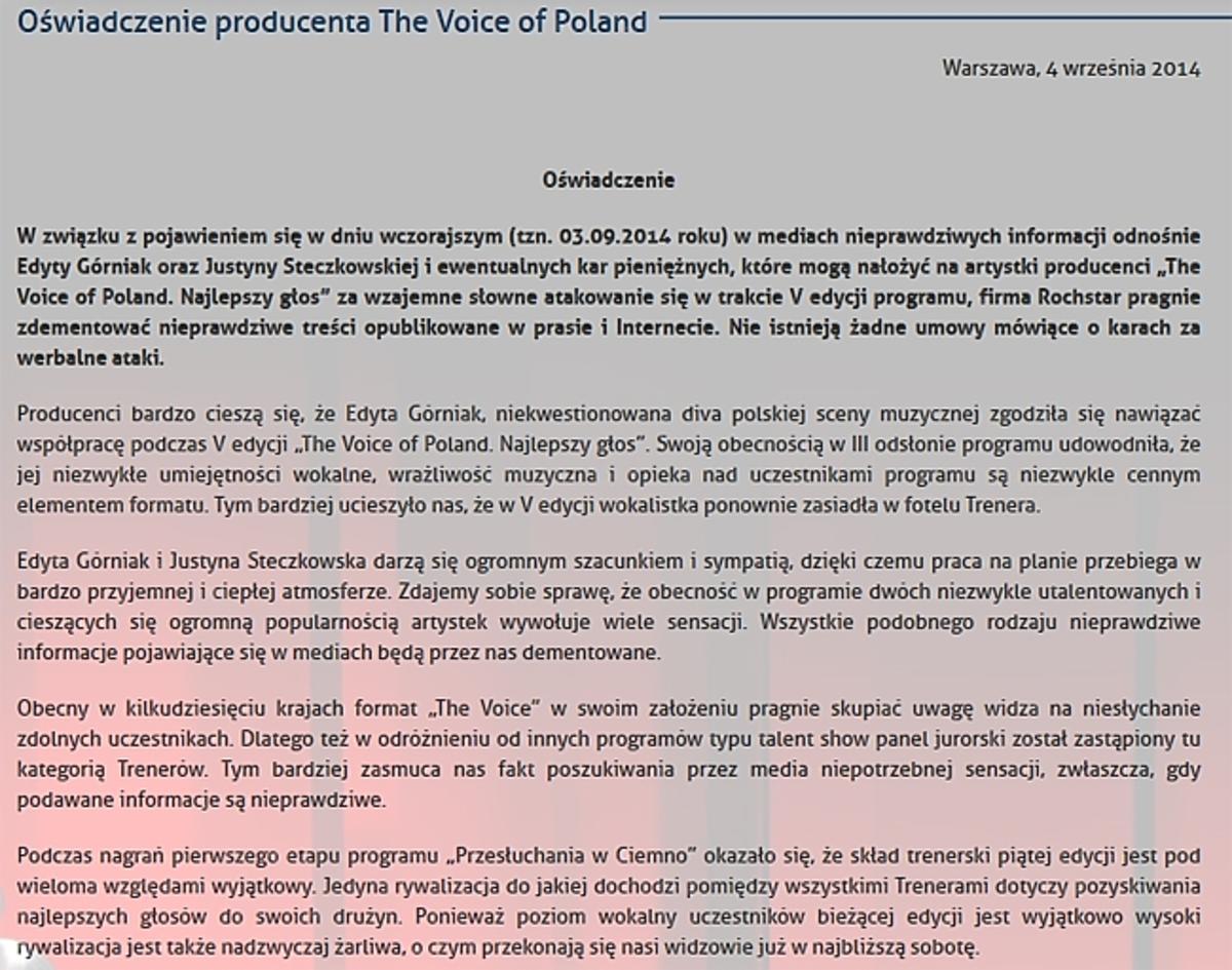 Producent The Voice o konflikcie Górniak i Steczkowskiej