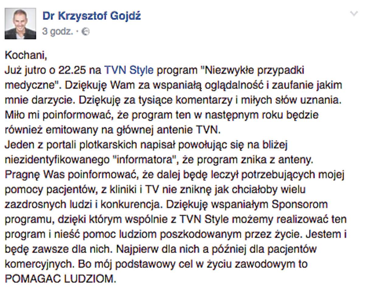 Program Gojdzia spada z anteny TVN?