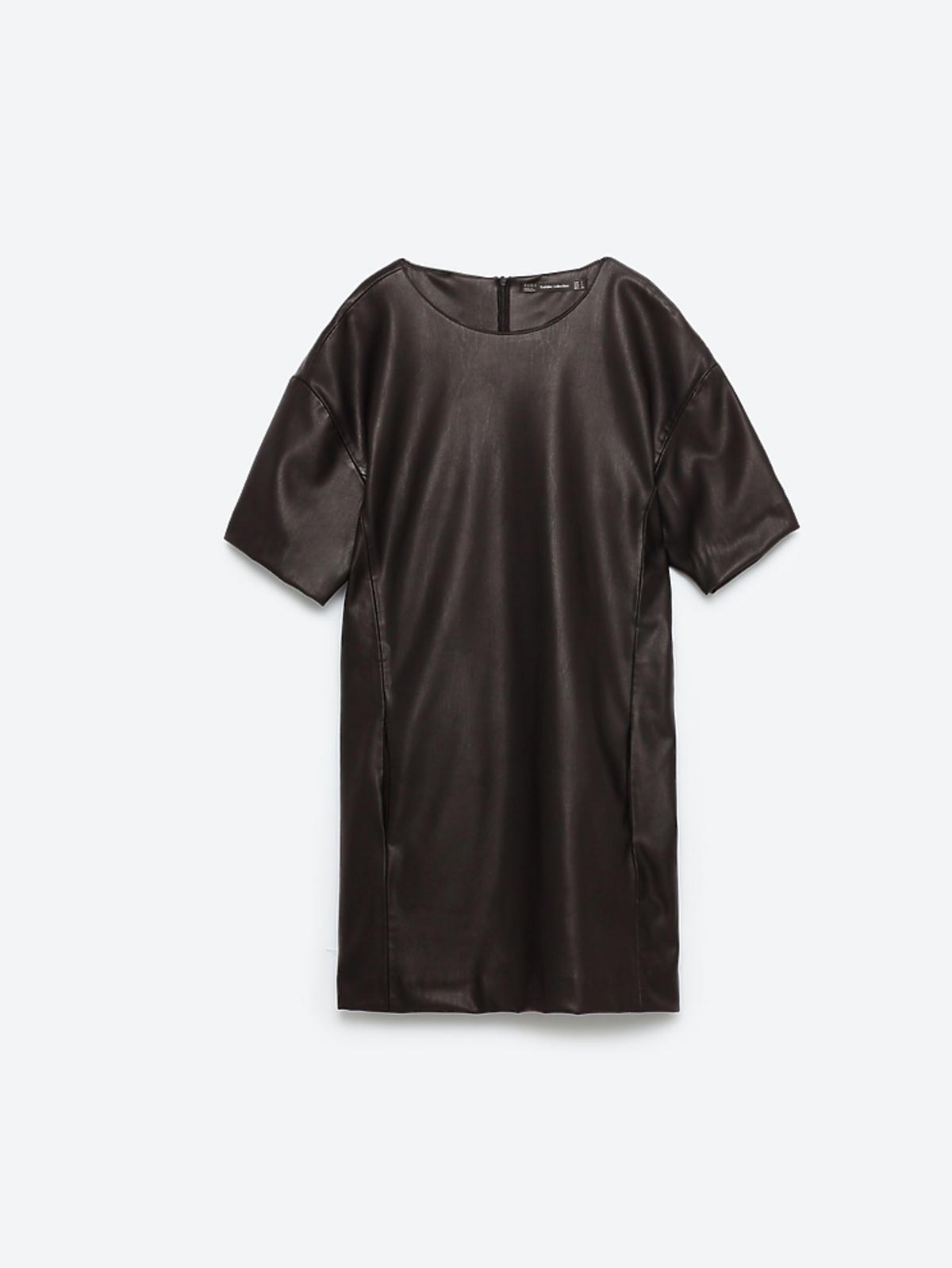Prosta sukienka ze sztucznej skóry, Zara, 69,90 zł