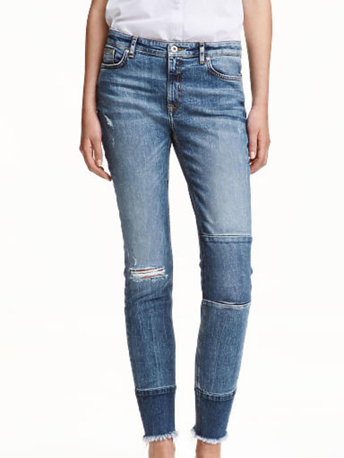 Przeceny i promocje H&M zima 2016: Patchworkowe spodnie dżinsy, cena: 104,90 zł (było: 149,90 zł)