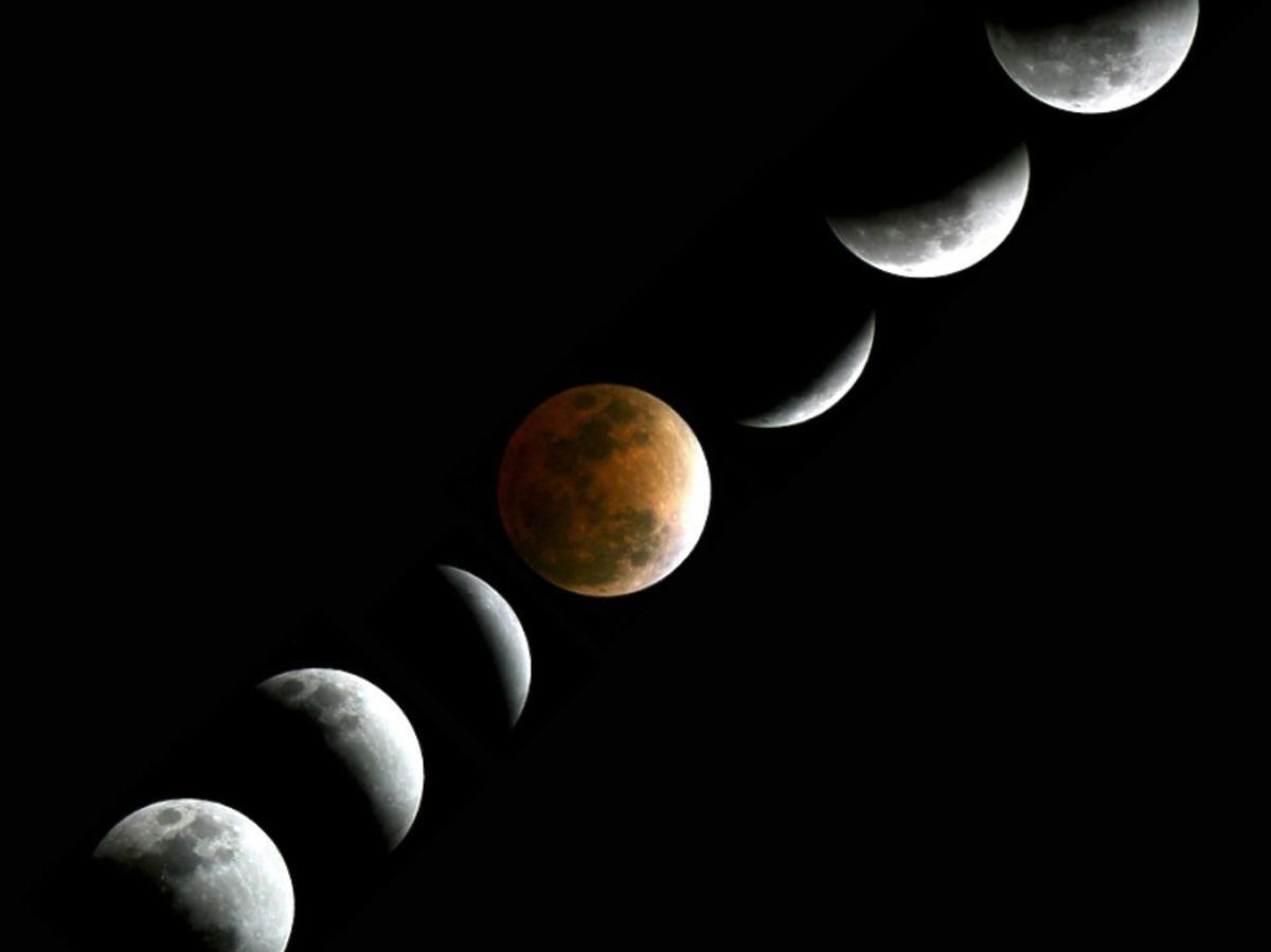Przedstawienie kolejnych faz zaćmienia księżyca