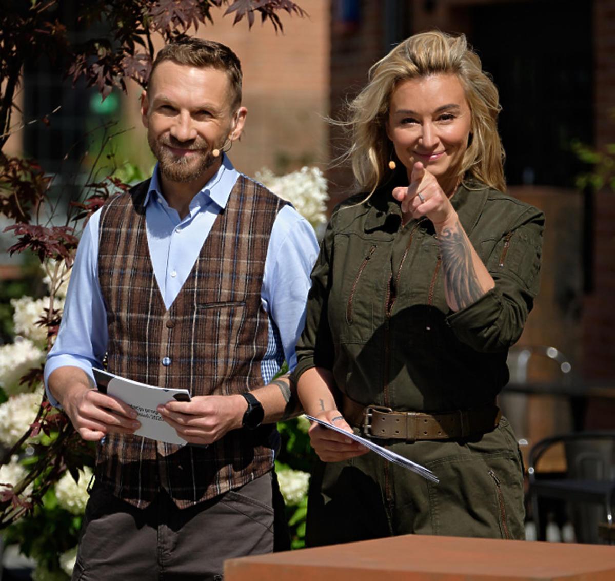 Przemysław Kossakowski i Martyna Wojciechowska na prezentacji jesiennej ramówki TVN 2020