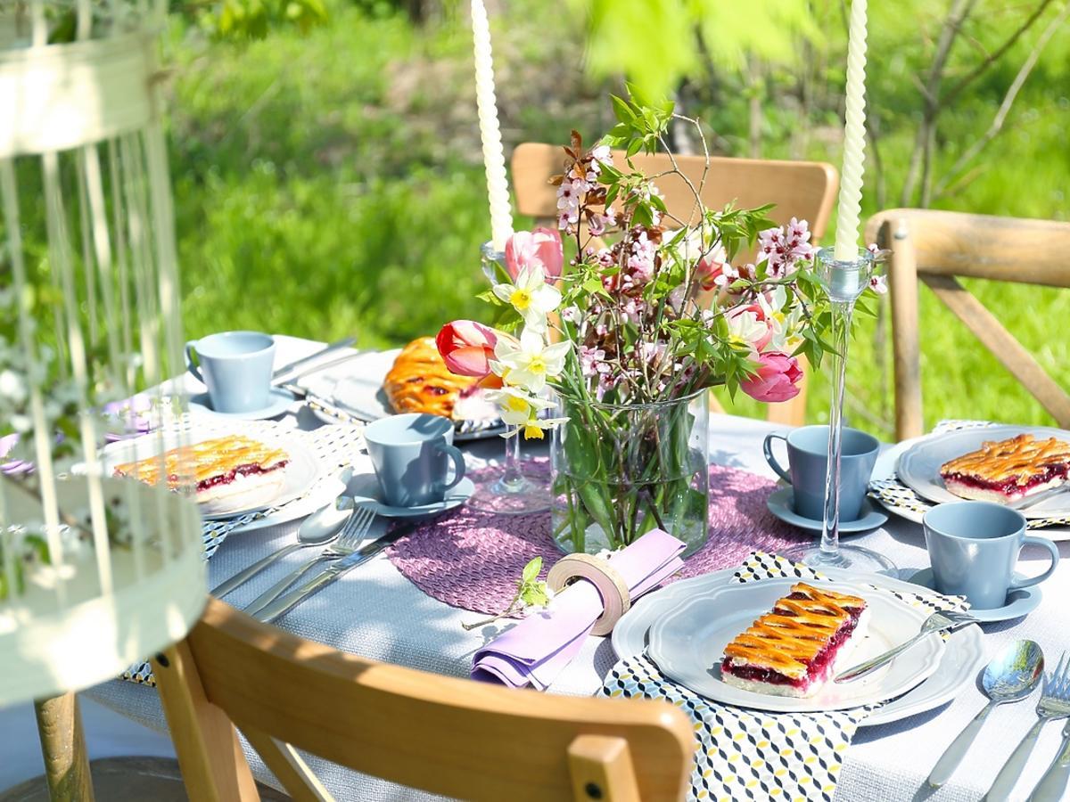 Przyjęcie w ogrodze, na talerzach ustawiono przystawki.