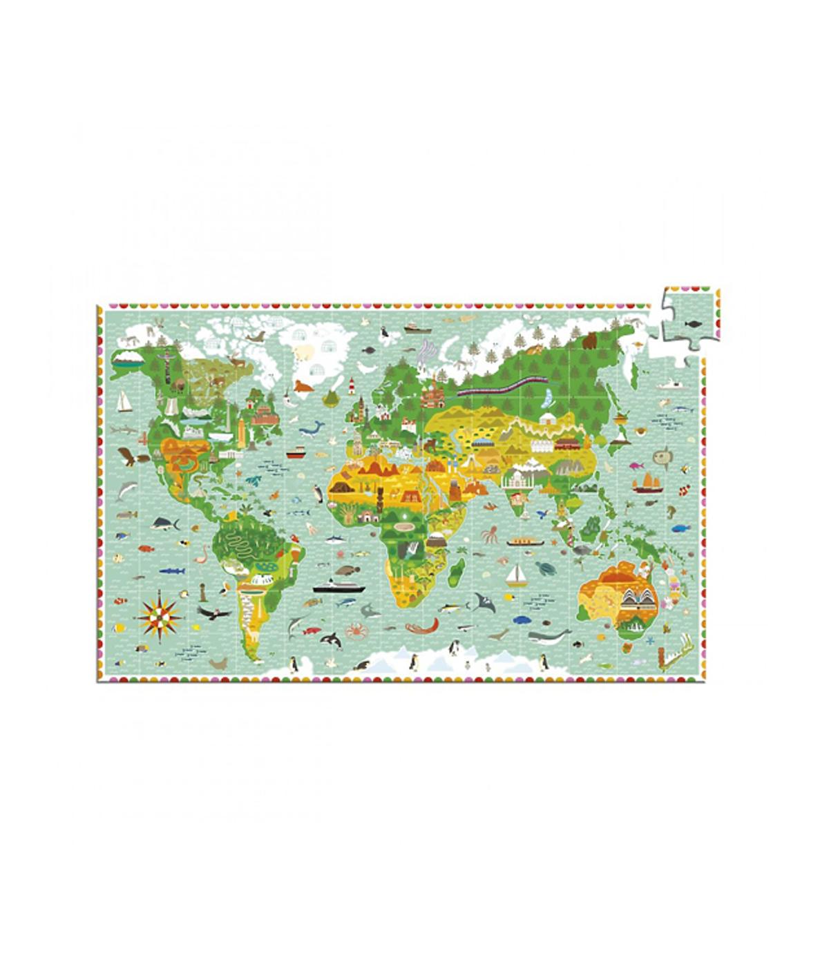 Puzzle z mapą świata, Djeco / Showroom.pl, 75 zł