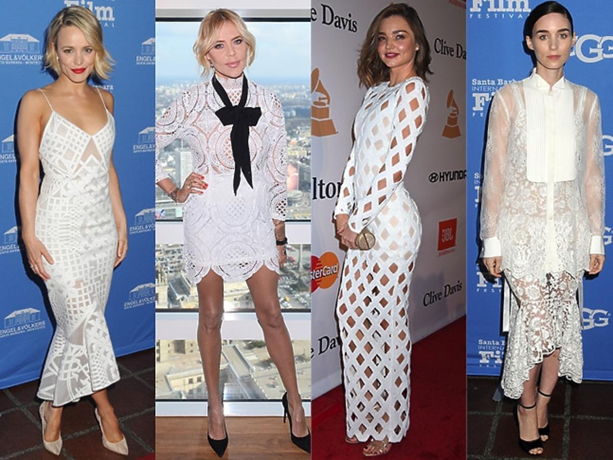 Rachel McAdams, Maja Sablewska, Miranda Kerr, Rooney Mara, Kristen Stewart w białych sukienkach