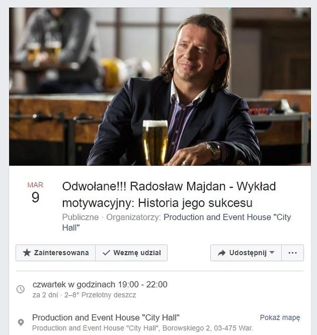 Radosław Majdan poprowadzi wykład motywacyjny?