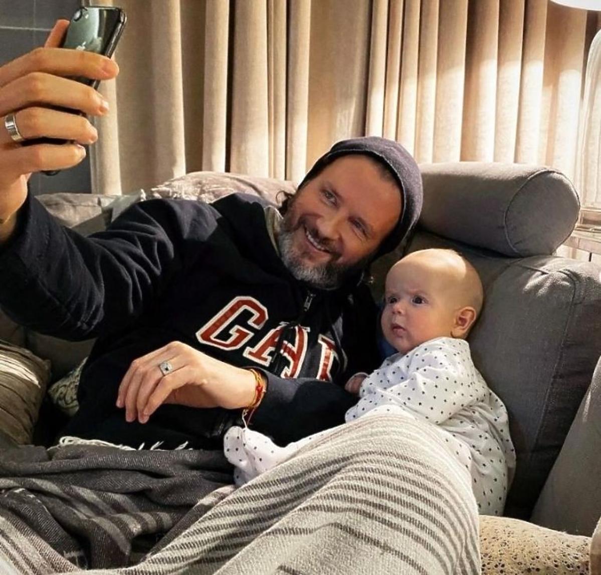 Radosław Majdan z synem