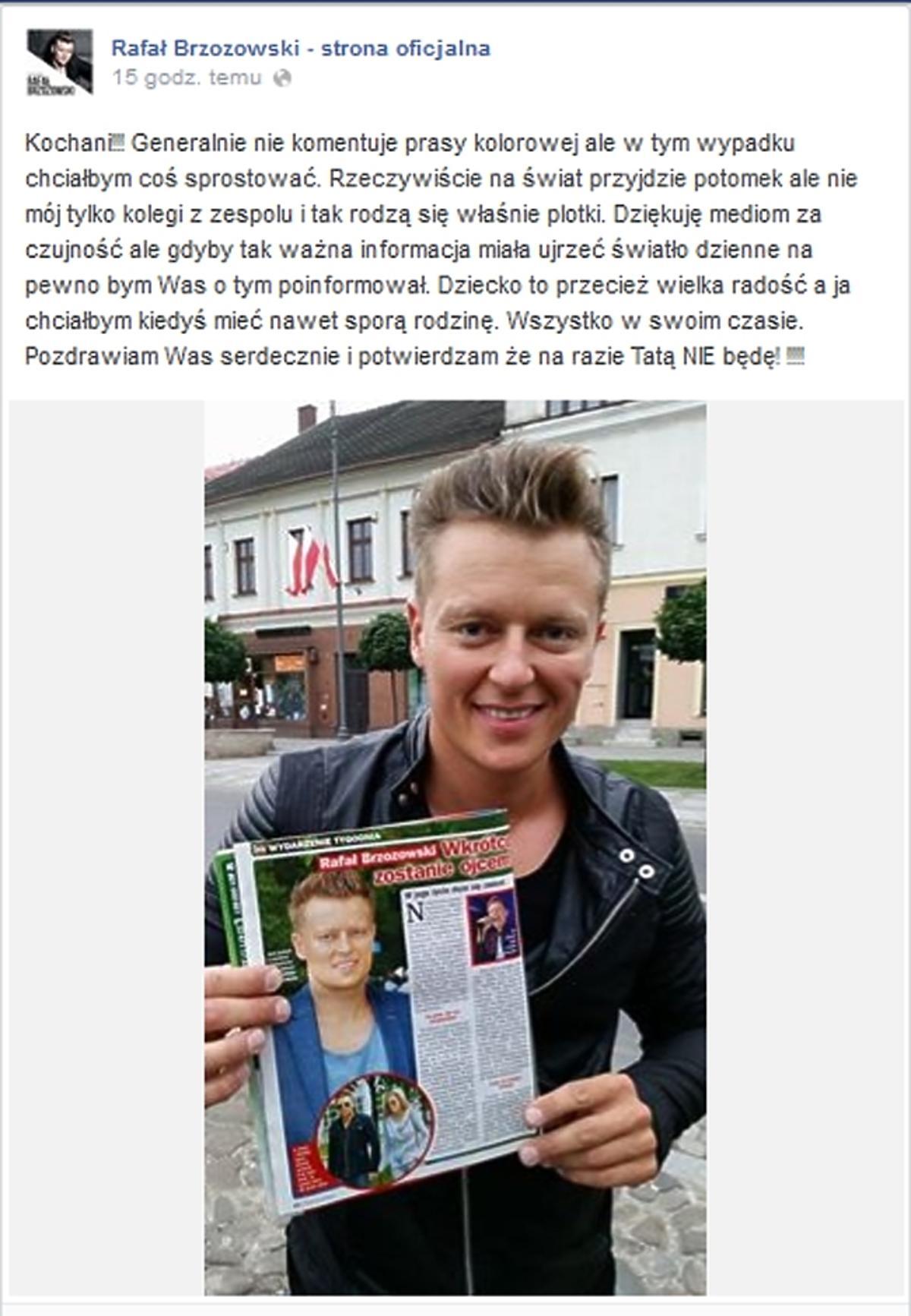 Rafał Brzozowski o ciąży Anny Tarnowskiej