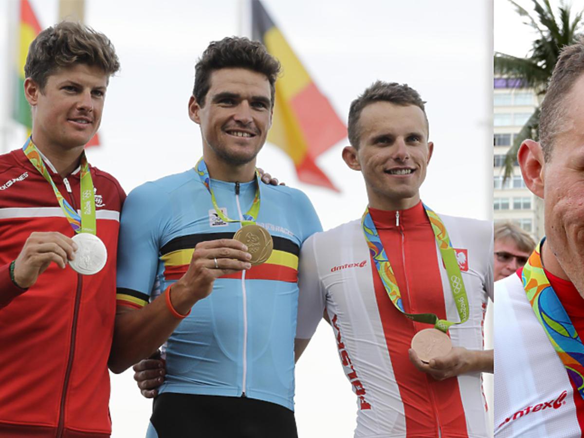 Rafał Majka na podium olimpijskim Rio 2016