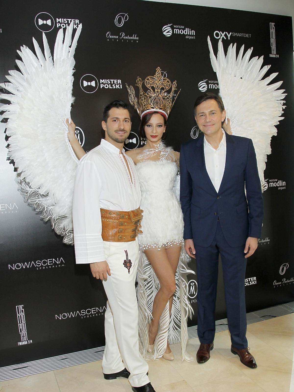 Rafał Maślak, Ada Sztajerowska i Krzysztof Ibisz na konferencji Miss i Mistera Polski