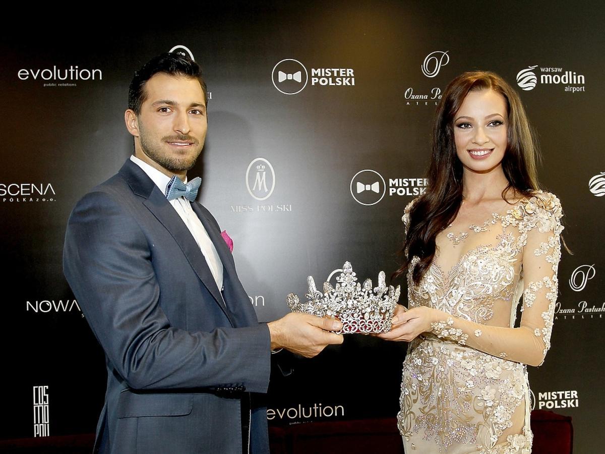 Rafał Maślak i Ada Sztajerowska na konferencji Miss i Mistera Polski
