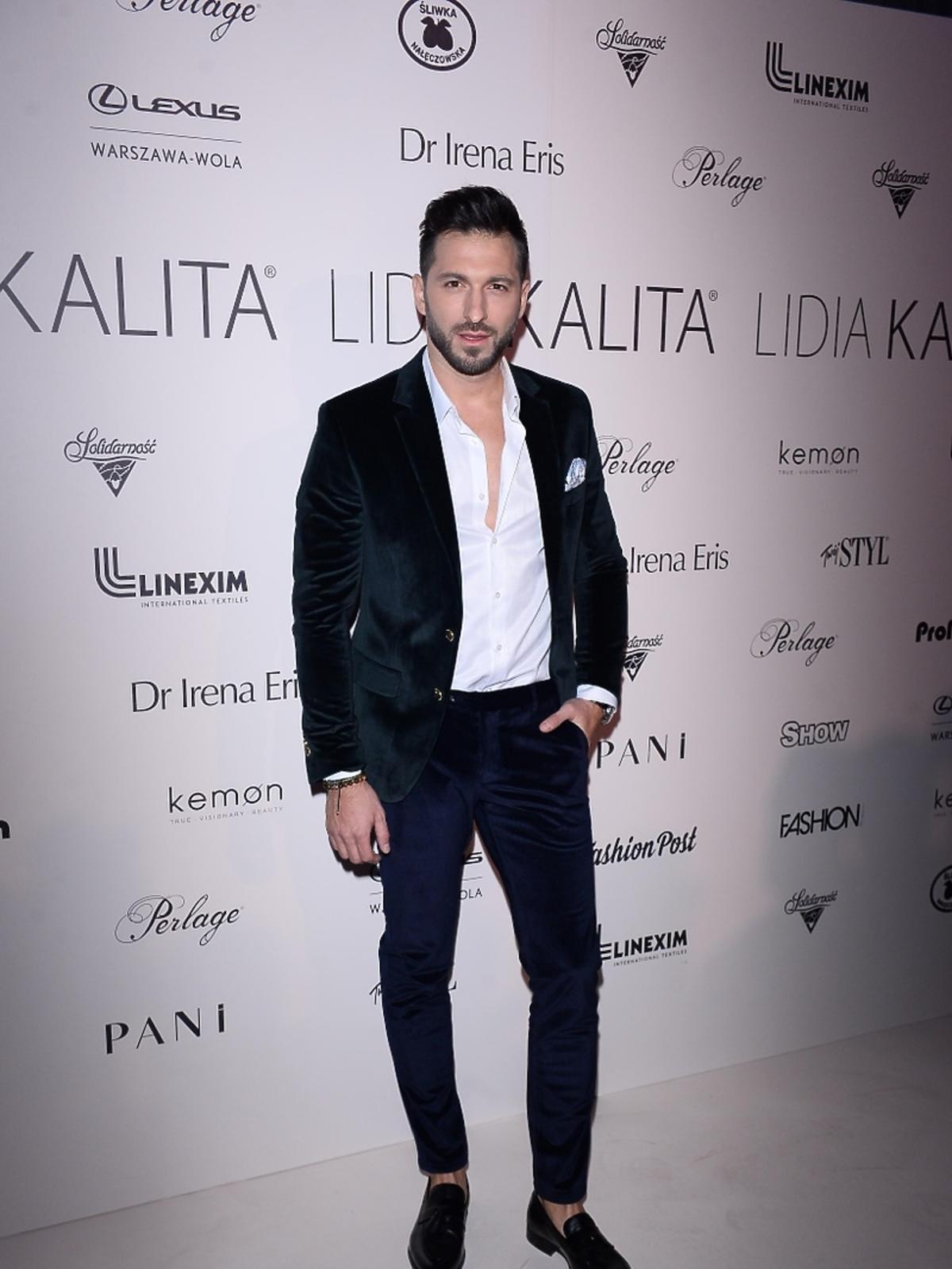 Rafał Maślak na pokazie kolekcji Lidii Kality