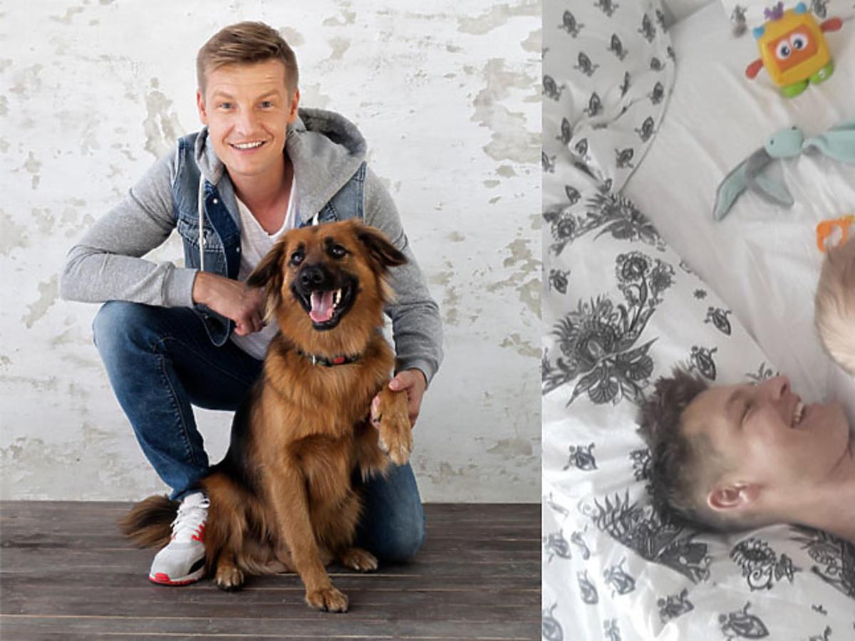 Rafał Mroczek z psem Lizakiem i z córką