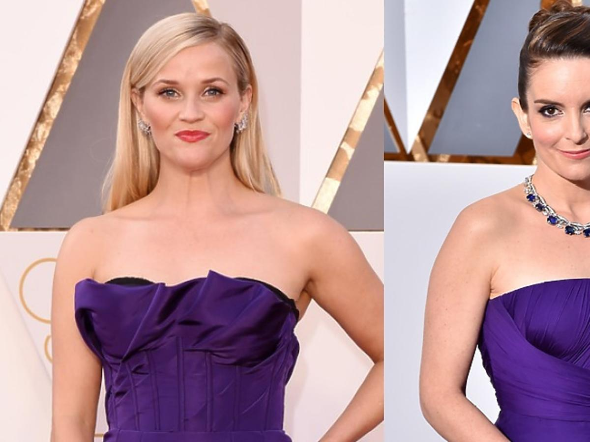 Reese Witherspoon, Tina Fey w fioletowych sukniach