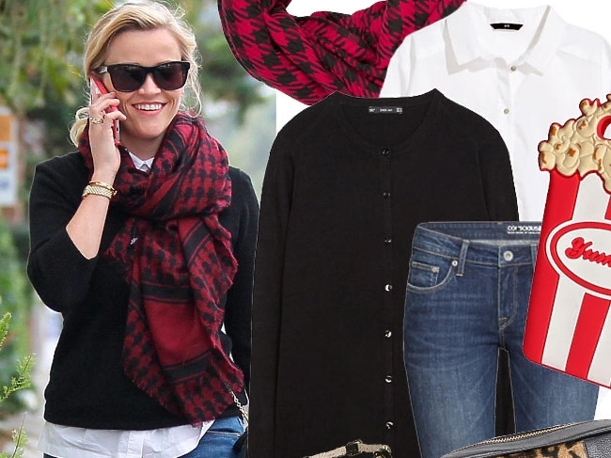 Reese Witherspoon w czarnym kardiganie