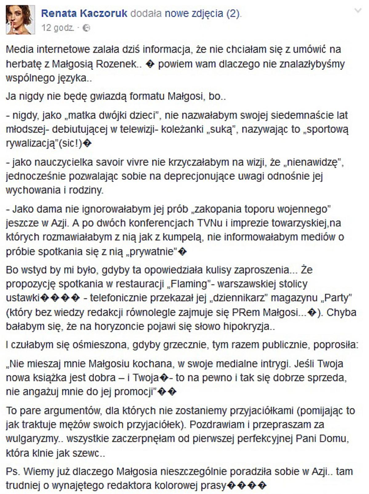 Renata Kaczoruk odpowiedziała Małgorzacie Rozenek-Majdan