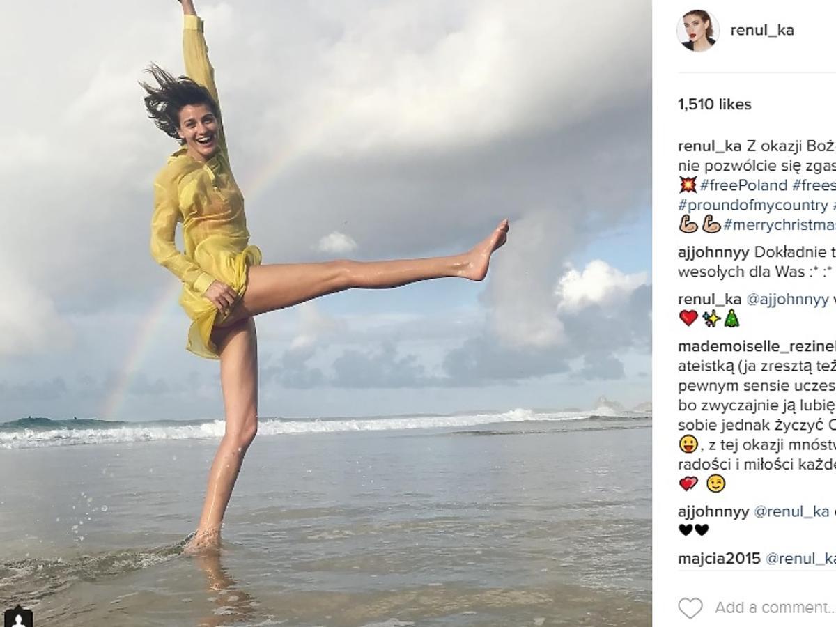 Renata Kaczoruk wyjechała z Polski na Boże Narodzenie i wygrzewa się w stroju kąpielowym na plaży