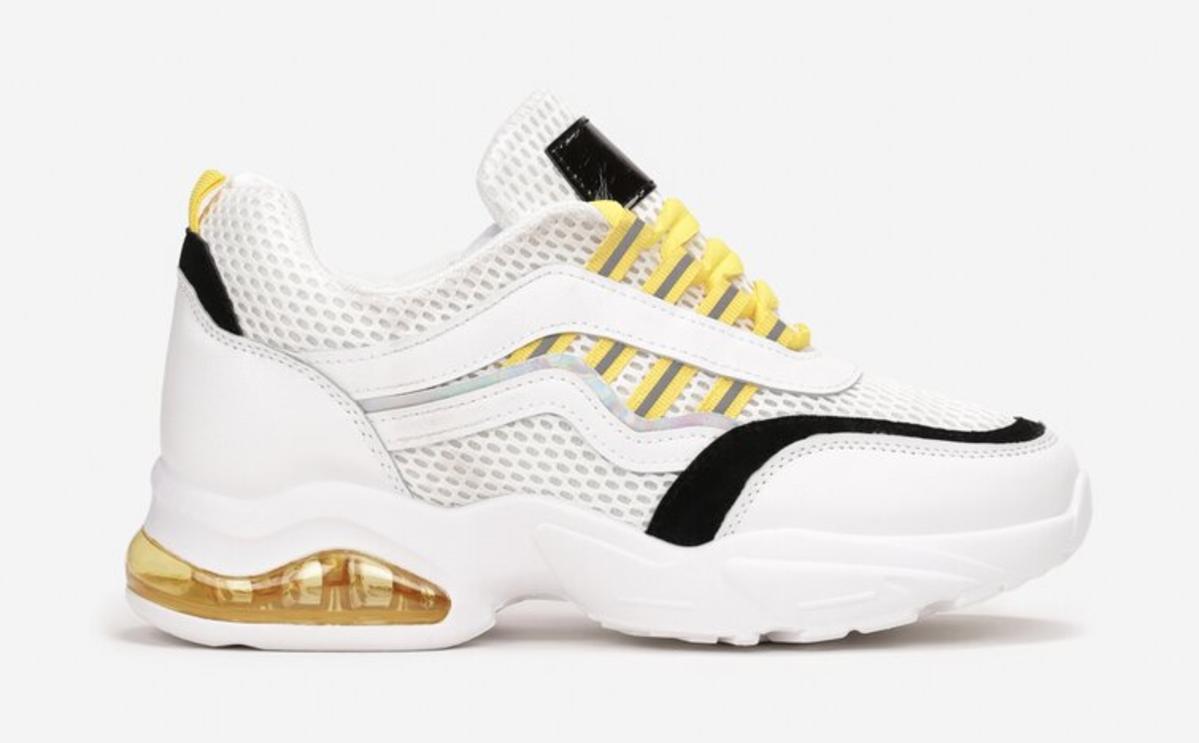 Renee, biało-żółto-czarne sneakersy, 59,99 zł