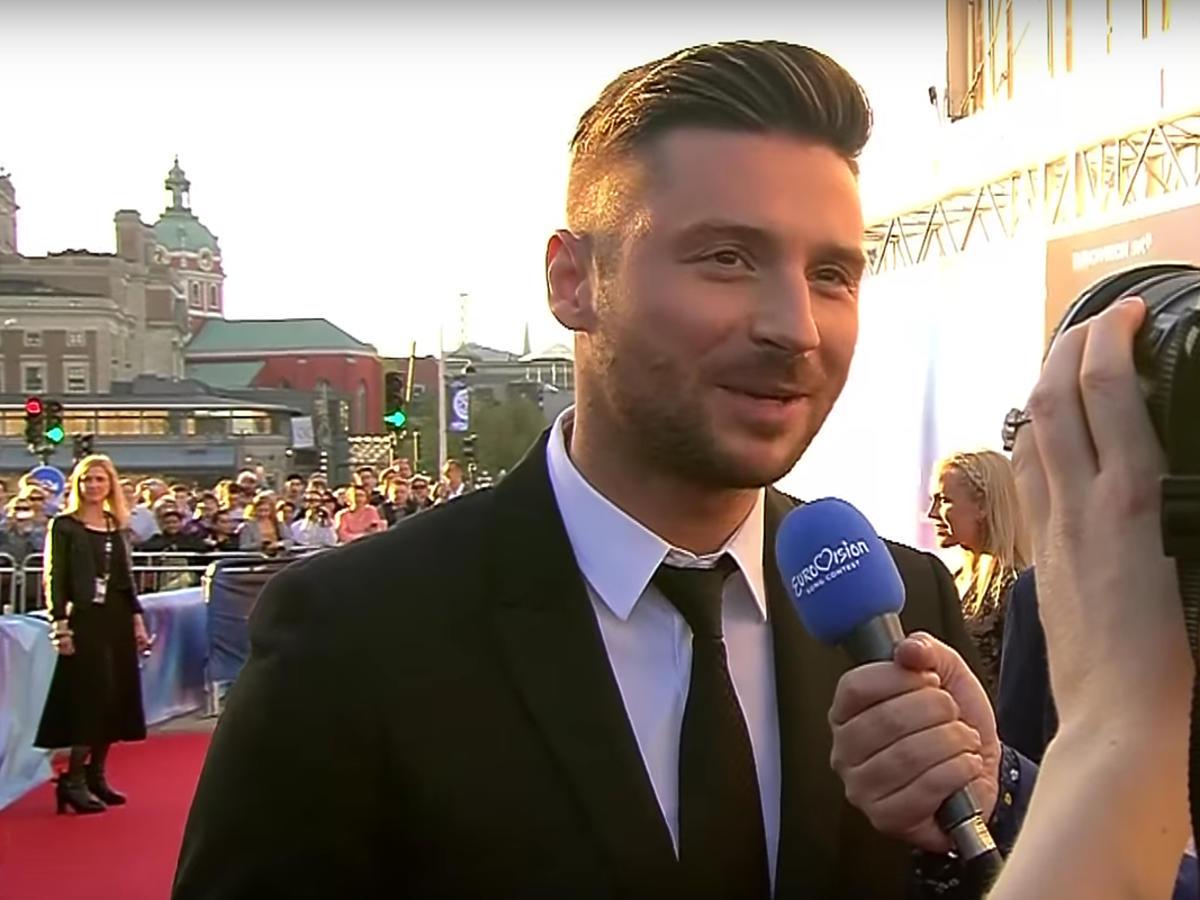 Reprezentant Rosji - Sergey Lazarev - na ceremonii otwarcia Eurowizji