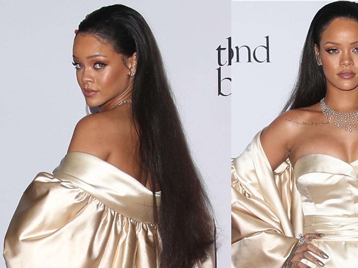 Rihanna w beżowej błyszczącej sukni do ziemi na czerwonym dywanie