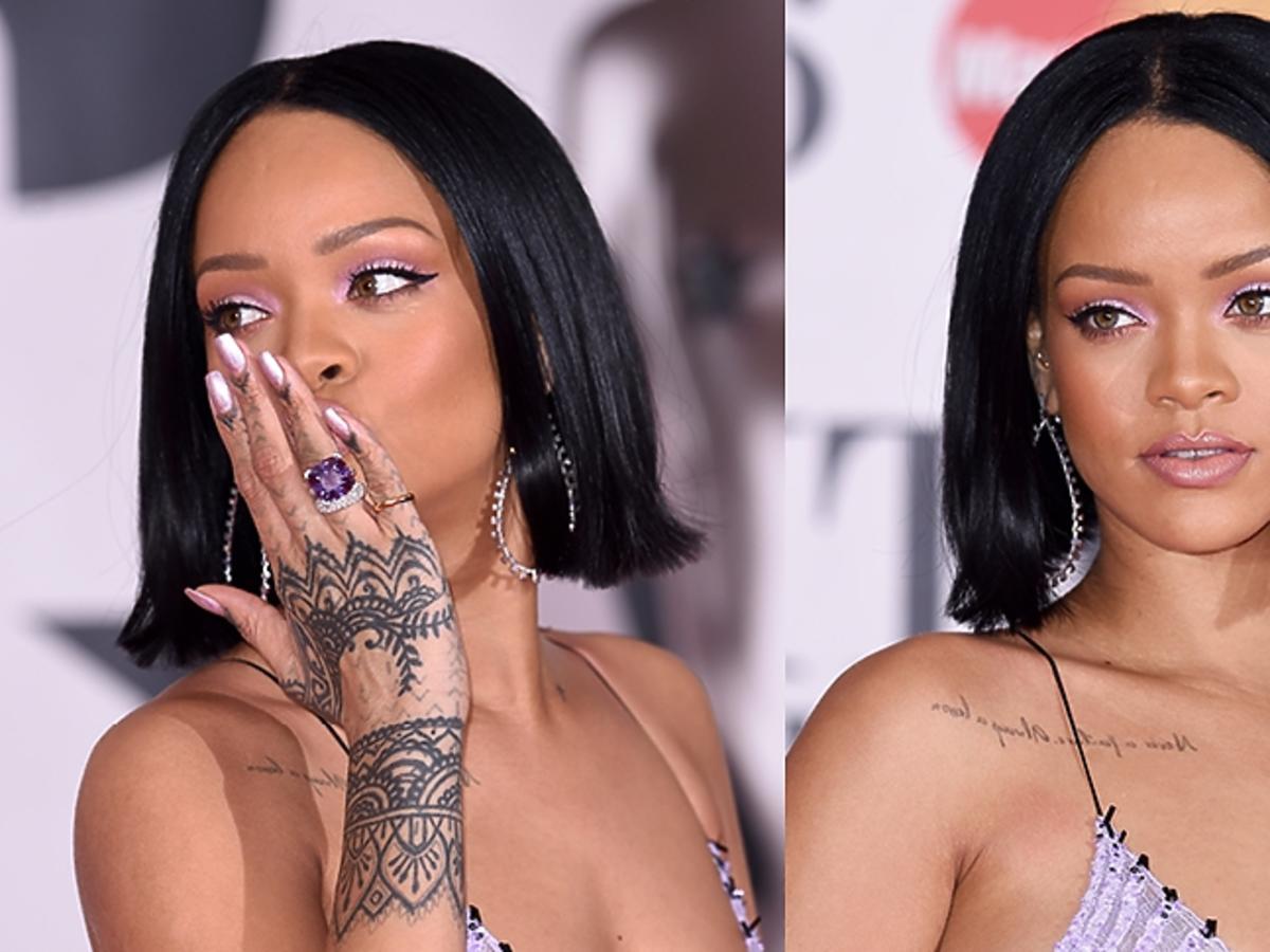 Rihanna w fioletowym makijażu
