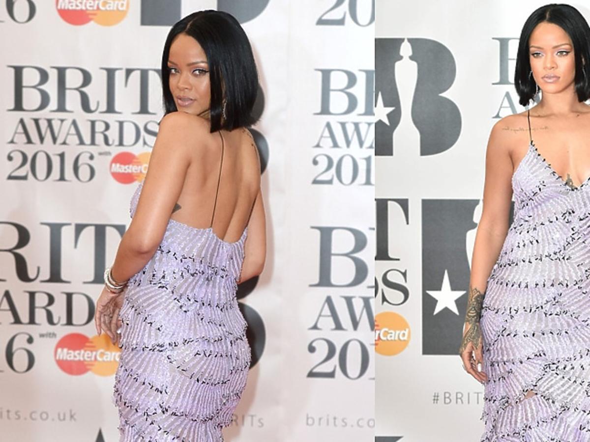 Rihanna w pastelowej sukni na ramiączka w falbany do ziemi na czerwonym dywanie