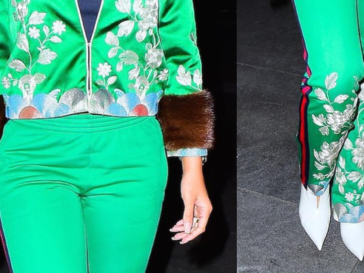 Rihanna w zielonym kombinezonie w haftowane kwiaty
