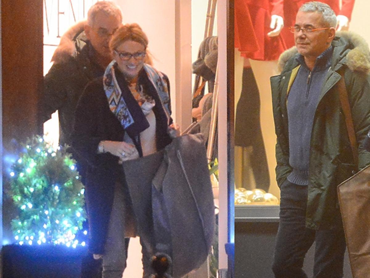 Robert Janowski, Monika Głodek wychodzą z centrum handlowego z zakupami